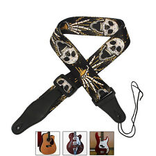 Nylon Guitar Strap PU Leather Ends Folk Horror Skull for Electric Bass Acoustic