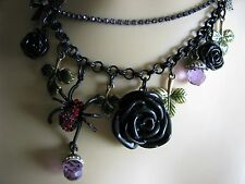 BETSEY JOHNSON GOTHIC GLAM DARK FOREST BLACK ROSE/SPIDER NECKLACE*RARE*