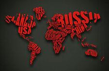 Lámina-mapa del mundo con palabras como los países (Cuadro De Arte Cartel)