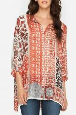 NWT Johnny Was S-M Silk Scarf Print Long Button Down Tunic Top Oversized BLOUSE