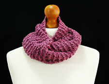 Hand knit pink infinity scarf - hand made item
