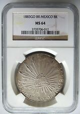 1883 GO BR MEXICO 8 REALES NGC MS 64 SILVER PIECES OF EIGHT TREASURE COB COIN