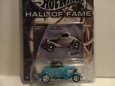 Hot Wheels Hall of Fame Aqua 1934 3-Window Ford Coupe w/Real Riders
