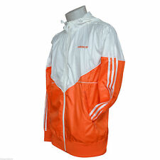 adidas Colorado Shiny Nylon Glanz Wet Look Windbreaker Jacket OrangeWhite Medium