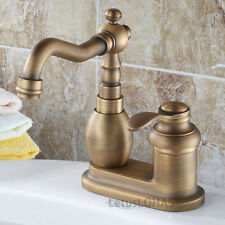 Antique Brass Two Hole Bathroom Sink Basin Faucet Lavatory One Handle Mixer Tap