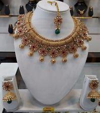 Indian Bollywood Polki Designer Costume Jewelry Necklace Gold Tone Kundan Set