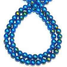G4266t Blue Metallic Multi-Color Graffiti Drawbench 8mm Round Glass Beads 31""