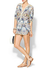 TWELFTH STREET BY CYNTHIA VINCENT LACE TRIM PAISLEY PLAYSUIT ROMPER SMALL