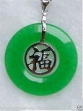 "ROUND CIRCLE GREEN JADE PENDANT CHINESE CHARACTER ""FU"" 925 Sterling Silver"