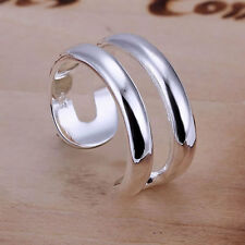 *UK* 925 SILVER PLATED ADJUSTABLE OPEN BAND THUMB RINGS band double line