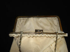 VINTAGE HANDMADE CLOTH BAG PURSES / HANDBAGS W/ 3 CHANGEABLE COVERS /METAL CHAIN