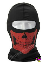 Red Skull Balaclava Biker Full Face Mask Ski Snowmobile Motorcycle Neck Hood +