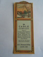 Vintage The Cable Company Pianos HC Summers Sons Jackson OH Advertising Bookmark