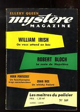 MYSTERE-MAGAZINE n°169 William IRISH  Robert BLOCH  Craig RICE février1962 OPTA