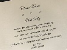 50 x Personalised Handmade Day / Evening Wedding Cards Invitations Gems
