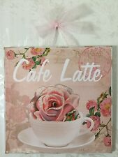 "NEW Shabby Paris ""Cafe Latte"" Plaque Picture Sign Wall Decor Coffee Chic"