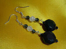 GENUINE RAINBOW OBSIDIAN OCTOGON AND QUARTZ STERLING SILVER EARRINGS