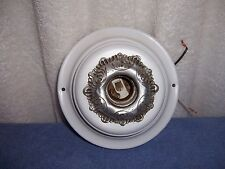 VINTAGE CEILING LIGHT METAL FLUSH MOUNT FIXTURE WITH NEW WIRES