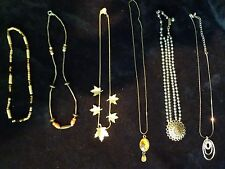 Vintage Jewelry Lot Wood Bead Necklaces Gold Leaves Silver Hematite Bead Pendant
