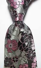 New Classic Floral Black Gray Pink JACQUARD WOVEN 100% Silk Men's Tie Necktie