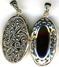 925 Sterling Silver Black Onyx & Marcasite Oval Locket Pendant Reversible 2 side