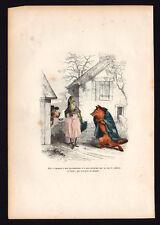LE BOULEDOGUE gravure aquarellée des animaux de grandville 1er édition 1842
