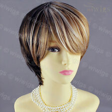 Short Straight Modish Brown mix copper gold mix Shown White Lady Wig WIWIGS UK