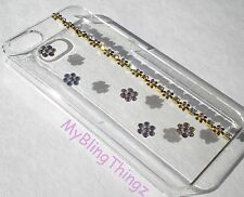 GOLD FLOWERS Crystal Bling Clear Back Case for iPhone 4 4S w/Swarovski Elements