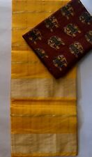 Kota Doria Saree Double border -Canary yellow Golden border Checks  Kalamkari BP