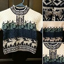 Toddler's Nordic Wool Ski Sweater Sz 3T Pullover Moose Christmas Trees Holiday