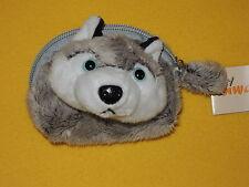 HUSKY Plüsch Geldbörse Kinder Geldbeutel Portemonnaie weich Hunde