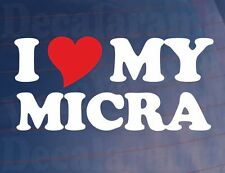 I LOVE/HEART MY MICRA Novelty Nissan Car/Window/Bumper Vinyl Sticker/Decal