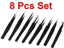 8pcs ESD Anti-Static Stainless Steel Tweezers Tweezer Maintenance Tools Kits Set