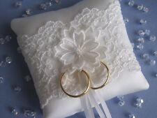 IVORY SATIN LACE BRIDAL WEDDING RING CUSHION NEW SMALL POCKET SIZE WITH CRYSTAL