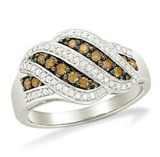 Great Look! 100% 10K White Gold Chocolate Brown & White Diamond Ring Band .50ct