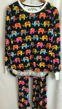 PJ Salvage Vintage Velour Elephant Print PJ Set Womens Sz Large A9