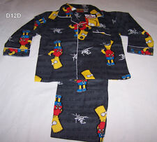 The Simpsons Bart Boys Grey Printed Flannel Pyjama Set Size 5 New