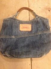 Genuine Levis Blue Denim Tote Handbag Bag - Jeans Pocket and Red Tab Vintage