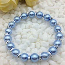 Wholesale fashion jewelry Light blue 8mm glass pearl stretch beaded bracelet DIY