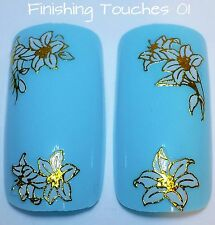 Nail Art Sticker- Flower Decal #262 TJ021 Transfer Shiny White Metallic Gold