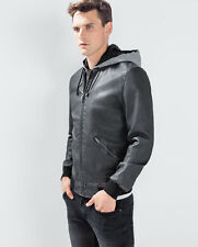 NWT ED Jordan Men's Faux Leather hooded jacket Black Motorcycle Zara  *XL