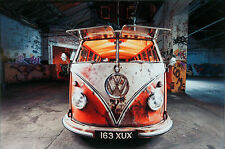 VW Camper Van Surf Glass Wall Art 30 X 20cm Decorative Picture - Red Graffiti
