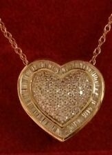 Affinity Diamond 14k yellow gold 1/2 ct tw Baguette and round heart pendant w/ch