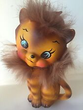 Vintage Ceramic Baby Tiger Figurine w/real Fur 1950's Made In Japan Kitty Kitsch