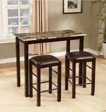 Bar Table And Chairs Set Height 3 Piece Marble Top Stool Pub Kitchen Furniture