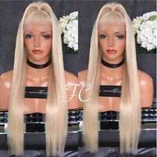 women platinum  blonde straight. lace front wig.human hair blend.