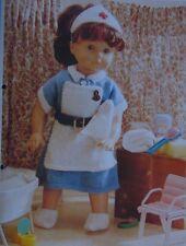 """Ropa De Muñecas traje de enfermera ~ ~ para adaptarse a 16-20-24"""" Muñeca Tejer patrón (Dolly)"""