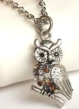 Silver Plated Owl Necklace Pendant Multicolor Crystal Bird 20-22 inches USSeller