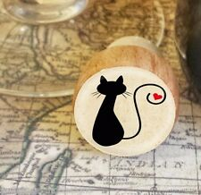 Wine Stopper, Silhouette Cat Handmade Wood Bottle Stopper, Cat Gift Style 2