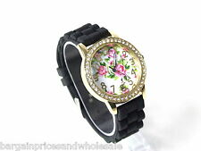 Black ANd Gold SILICONE JELLY BEAN STYLE Diamante Spray Rose Gel Fashion watch
